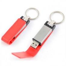 """USB-Flash накопитель - брелок (флешка) """"Leather Magnet"""" в металлическом корпусе, 32 Gb, с кожаным откидным клапаном на магните. Красный"""