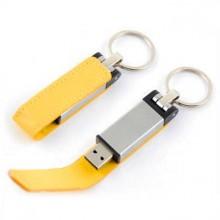 """USB-Flash накопитель - брелок (флешка) """"Leather Magnet"""" в металлическом корпусе, 32 Gb, с кожаным откидным клапаном на магните. Жёлтый"""