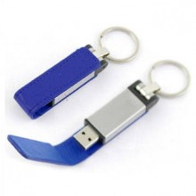 """USB-Flash накопитель - брелок (флешка) """"Leather Magnet"""" в металлическом корпусе, 32 Gb, с кожаным откидным клапаном на магните. Синий"""