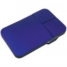 Мышь компьютерная; синий; 5х8,5х1см; прорезиненный пластик; лазерная гр