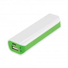 Внешний аккумулятор, Aster PB, 2000 mAh, пластик, 90х30х21 мм, белый/зеленый, транзитная упаковка