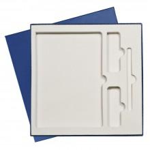 Подарочная коробка под ежедневник+ручка+внеш.аккумулятор, синяя, 250*250 мм, с бежевым ложементом
