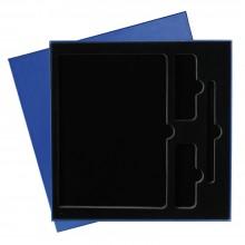Подарочная коробка под ежедневник+ручка+внеш.аккумулятор, синяя, 250*250 мм, с черным ложементом