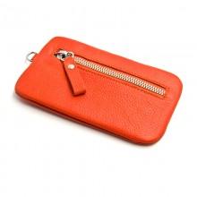 Ключница на молнии STORE 140*80 мм., натуральная кожа, оранжевый