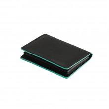 Визитница для своих визиток, нат. кожа, Everest, 100 х 75 мм, черный/аква, гладкая фактура