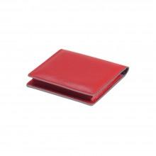 Визитница для своих визиток, натуральная кожа,Everest, 100 х 75 мм, красный/бежевый, гладкая фактура
