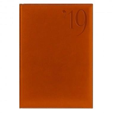 Ежедневник PORTLAND 5459 (650) 145x205 мм,апельсин, крем.блок, золот.срез,красно-черная графика,2019
