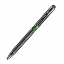 Шариковая ручка, iP, наж. мех-м, корпус-металл.,зеленый, сил. стилус