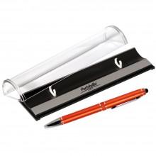 Шариковая ручка, iP2, поворотный мех-м, оранжевый матовый, отделка хром, силиконовый стилус, в упаковке, с логотипом