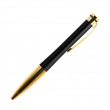 Шариковая ручка, Megapolis, корпус- латунь, покрытие матовый черный лак, отделка - позолота
