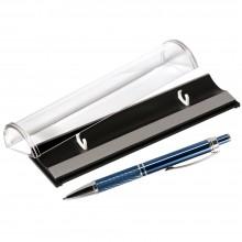 Шариковая ручка, Crocus, корпус-алюминий, покрытие синий, отд- гравир-ка, хром.детали,в упаковке