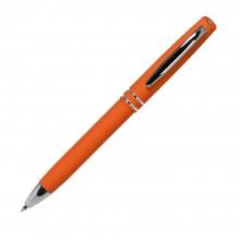 Шариковая ручка, Consul, нажимной мех-м,корпус-алюминий,покрытие-soft touch,отд.-хром. гравир., оранжевый