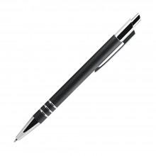 Шариковая ручка, City, нажимной мех-м,алюминий, черный матовый сатин, отделка - хром.