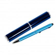 Шариковая ручка, iP2, поворотный мех-м, лазурный матовый, отделка хром, силиконовый стилус, в уп