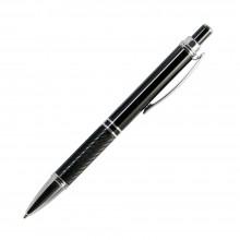 Шариковая ручка, Crocus, алюминий,покрытие черный, отделка - гравировка, хром. детали