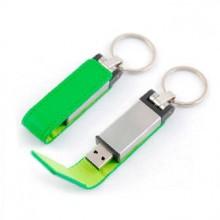 """USB-Flash накопитель - брелок (флешка) """"Leather Magnet"""" в металлическом корпусе, 32 Gb, с кожаным откидным клапаном на магните. Зелёный"""