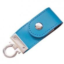 """USB-Flash накопитель (флешка) """"Button"""" в кожаном корпусе с металлическими вставками, с клапаном на кнопке, 32 Gb, голубой"""