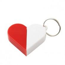 Брелок-трансформер в виде сердца, с кольцом, белый с красным