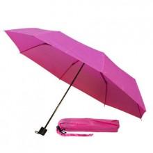 Зонт механический складной в чехле, с пластиковой ручкой. Розовый 218 C