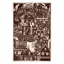 Плед «Город», бежево-коричневый
