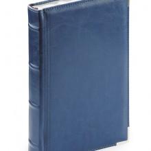 Ежедневник полудатированный Boss, синий, А5, белый блок, серебряный обрез, ляссе, карта