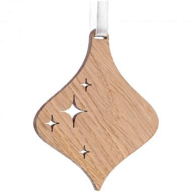 Деревянная подвеска Carving Oak, в форме елочной игрушки