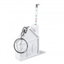 Брелок «Дом» с рулеткой 2 м, белый