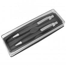 SUMO SET, набор в футляре: ручка шариковая и карандаш механический, черный/серебристый, металл/пласт