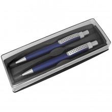 SUMO SET, набор в футляре: ручка шариковая и карандаш механический, синий/серебристый, металл/пласти