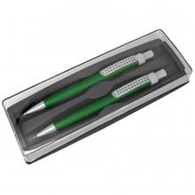 SUMO SET, набор в футляре: ручка шариковая и карандаш механический, зеленый/серебристый, металл/плас