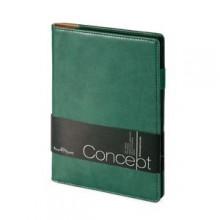 Еженедельник недатированный Concept, А5, зеленый, бежевый блок, без обреза