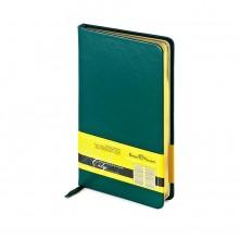 Еженедельник недатированный City, зеленый, А6, бежевый блок, золотой обрез, ляссе