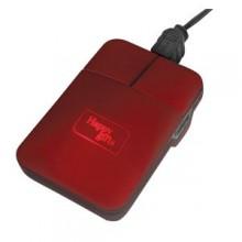 Мышь компьютерная; красный; 5х8,5х1см; прорезиненный пластик; лазерная