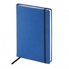 Блокнот недатированный Megapolis Velvet, А5, синий, бежевый блок, без обреза, ляссе