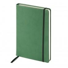 Блокнот недатированный Megapolis Velvet, А5, зеленый, бежевый блок, без обреза, ляссе