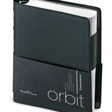 Ежедневник полудатированный Orbit, А6, черный, белый блок, серебряный обрез, без ляссе
