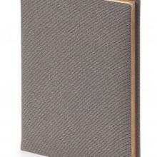 Ежедневник полудатированный Aurora, А6+, серый, бежевый блок, золотой обрез, два ляссе