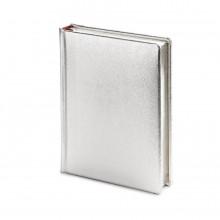 Ежедневник полудатированный Cult Silver, А6+, серебристый, серебряный обрез, два ляссе