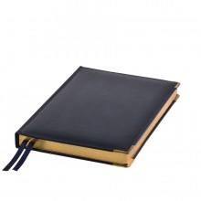 Ежедневник полудатированный Rarity, A5, темно-синий, рециклированная кожа, кремовый блок, подарочная