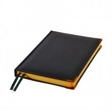Ежедневник полудатированный Rarity, A5, черный, рециклированная кожа, кремовый блок, подарочная