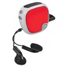 FM-радио c шагомером и наушниками; красный с белым; 4,9х4,9х2,8 см; пластик; тампопечать