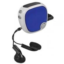 FM-радио c шагомером и наушниками; синий с белым; 4,9х4,9х2,8 см; пластик; тампопечать