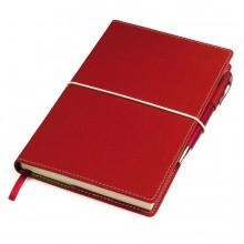 """Бизнес-блокнот """"BUSINESS"""", 130*210 мм, красный, съемная обложка, блок-линейка, тиснение"""