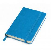 """Бизнес-блокнот """"Casual"""", 130*210 мм, голубой, твердая обложка, резинка 7 мм, блок-линейка, тиснение"""