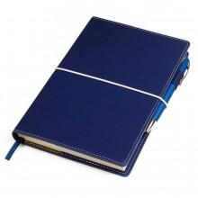 """Бизнес-блокнот """"BUSINESS"""", 130*210 мм, синий, съемная обложка, блок-линейка, тиснение"""