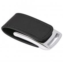 """USB flash-карта """"Lerix"""" (8Гб), черный, 6х2,5х1,3см, металл, искусственная кожа"""