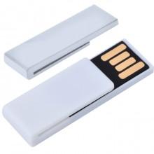 "USB flash-карта ""Clip"" (8Гб),белая,3,8х1,2х0,5см,пластик"