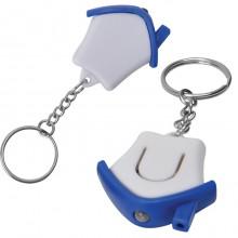 """Брелок-фонарик """"Дом""""; белый с синим, 3,5х3,5х1см, пластик"""
