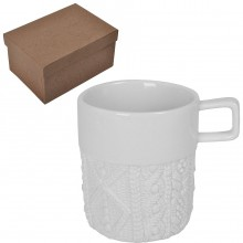 """Кружка """"Knitted"""" в подарочной упаковке, 13,5х14,5х9см,310мл, D=8,5см, фарфор;"""