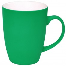 """Кружка """"Sweet"""" с прорезиненным покрытием, зеленый, 350 мл, фарфор"""